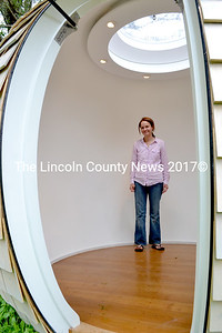 Judy Bernier, director of Podzooks, stands inside the first Archipod built in the United States. (D. Lobkowicz photo)