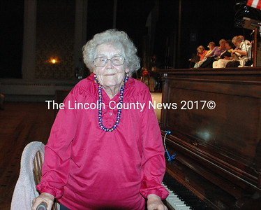Rowene Orff played the piano as the audience arrived and during intermission of the three Hearts Ever Young performances at Lincoln Theater last weekend. (Eleanor Cade Busby photo)