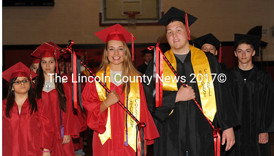 Wiscasset High School Class Marshals Erika Auger and Josh Hodgdon lead the 2015 graduating class during rehearsal on Tuesday, June 9. (Paula Roberts photo)