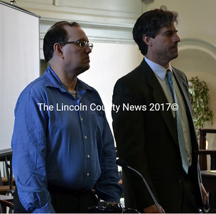 Scott L. Gifford (left) stands with defense attorney Seth Levy in Lincoln County Superior Court in Wiscasset June 10. Gifford would soon admit a probation violation and plead guilty to assault and criminal threatening in connection with his attack on a Damariscotta woman Aug. 27, 2014. (J.W. Oliver photo)