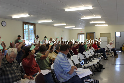 50 Dresden citizens attended the annual town meeting on Saturday, June 13 to vote on 53 warrant articles, including adoption of a comprehensive plan for the town. (Olivia Canny photo)