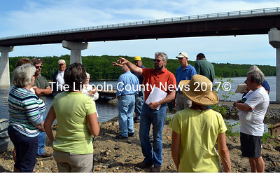 Dresden Planning Board Chairman Jeffrey Pierce (center) fields a question about a proposal for a boat ramp on the Kennebec River during a site walk Sunday, June 14. A public hearing about the proposal will take place at Pownalborough Hall at 6:30 p.m., Tuesday, June 23. (J.W. Oliver photo)