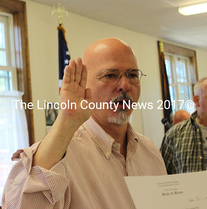 The newly elected Bill Hinote was sworn in as first selectman after Dresden's annual town meeting on Saturday, June 13. (Olivia Canny photo)