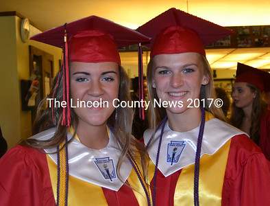 Wiscasset graduating seniors Kayla Gordon (left) and Hanna Foye will be roommates next year at Hudson University in Bangor. Gordon said she is looking forward to expanding her horizons and Foye said she is excited to learn more about herself.