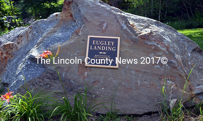 A plaque at South Bristol's new town landing recognizes the Eugley family as the longtime owners and residents of the property and the late Anne Wilder Stratton for making the purchase possible through her bequest to the town. (J.W. Oliver photo)