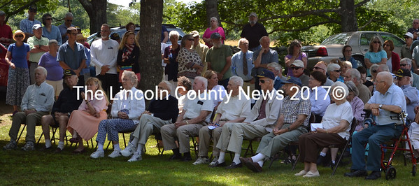 South Bristol World War II veterans sit in the front row during the dedication ceremony for the veterans memorial at the town office Friday, July 17. (J.W. Oliver photo)