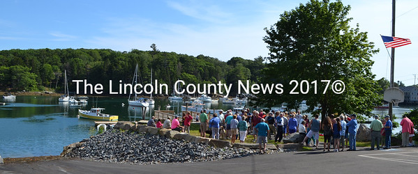 A crowd gathers for a ceremony at Eugley Landing in South Bristol Friday, July 17. (J.W. Oliver photo)