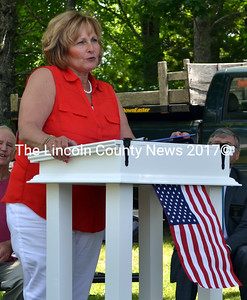 Maine First Lady Ann LePage speaks at the dedication of the South Bristol veterans memorial Friday, July 17. (J.W. Oliver photo)