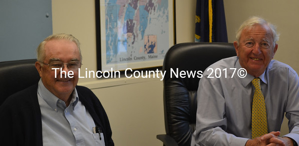 In a special commissioners' meeting Tuesday, Aug. 11, commissioner Bill Blodgett (left) resigned from the Lincoln and Sagadahoc Multicounty Jail Authority board to instead serve as an alternate member. Commissioner Hamilton Meserve will take Blodgett's seat as a board member. (Abigail Adams photo)