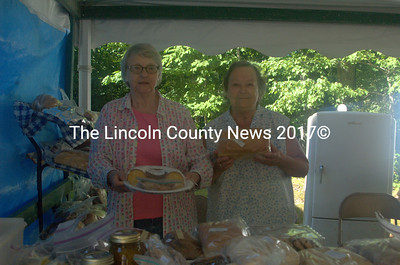 Diane Lawrence (left) and Shirley Hall sold pies and home-baked breads, along with a variety of other goodies, at North Nobleboro Day on Saturday, Aug. 8. (Eleanor Cade Busby photo)