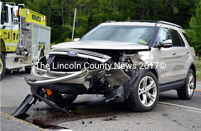 This 2011 Ford Explorer did not yield to a southbound Toyota sedan as the Explorer was pulling out of the Robert L. Foster Antiques parking lot and onto Route 1 in Newcastle Friday, Aug. 7. (J.W. Oliver photo)