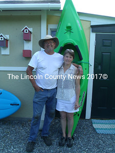 Ron McCrary and Karen Farnsworth at their new business, River Mist Kayaks, at 1181 Bristol Rd. in Bristol. (Gina Hamilton photo)
