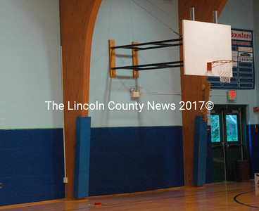 Both the gym and the entry way were repainted during summer renovations at Great Salt Bay Community School. (Maia Zewert photo)