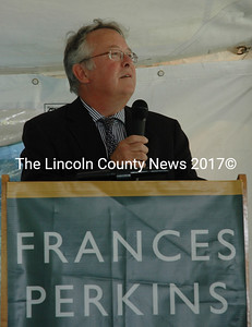 Frances Perkins Center Executive Director Michael Chaney addresses the attendees of the seventh annual Frances Perkins Center Garden Party on Friday, Aug. 14. The party marked the 80th anniversary of the signing of the Social Security Act. (Maia Zewert photo)
