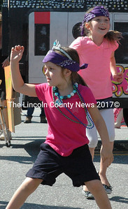 Kids from the Harbor Day Care float put on a dance performance for the judges at the Olde Bristol Days parade. The float took first prize. (Maia Zewert photo)