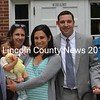 New District 6 Assistant District Attorney Matthew Kanwit's family gathered to witness his swearing in ceremony at Lincoln County Superior Court Friday, Aug. 21. Pictured (from left to right) are cousin Carol Feingold, father-in-law Martin Samelson, daughter Sloane Kanwit, mother-in-law Lois Samelson, wife Jennifer Kanwit, and parents Evelyn and John Kanwit. Not pictured: Cutler Kanwit. (Abigail Adams photo)