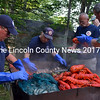 South Bristol Fire Chief Mark Carrothers (left), Assistant Chief Gunnar Gunderson (center), and Assistant Chief John Seiders (right) man the lobster bake at the Lincoln County Fire Chiefs Association annual meeting Aug. 19. (J.W. Oliver photo)