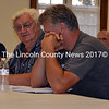 Dick Condon (center) attends a Dresden Planning Board meeting at Pownalborough Hall Tuesday, Sept. 1. Condon faces a fine from the planning board for violating a stop-work order, as well as opposition from the neighborhood to his plans for a gravel pit on Ludwig Road. (J.W. Oliver photo)
