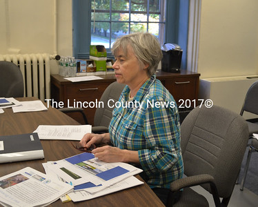 Lincoln County Regional Planning Commission Economic and Community Development Director Mary Ellen Barnes updates the Lincoln County Board of Commissioners on brownfields issues Tuesday, Oct. 6. (Charlotte Boynton photo)