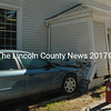 A vehicle struck the Bristol town office early Tuesday afternoon, Oct. 6. Lincoln County Sheriff's Deputy Kevin Dennison said the driver had swerved to avoid an oncoming vehicle. (Maia Zewert photo)