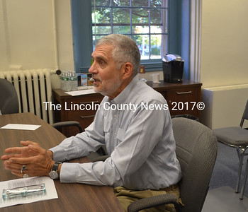 Lincoln County Planner Robert Faunce addresses the Lincoln County Board of Commissioners Tuesday, Oct. 6. The Maine Department of Transportation is proposing to reduce the Lincoln County Regional Planning Commission's transportation-planning allocation by 75 percent. (Charlotte Boynton photo)