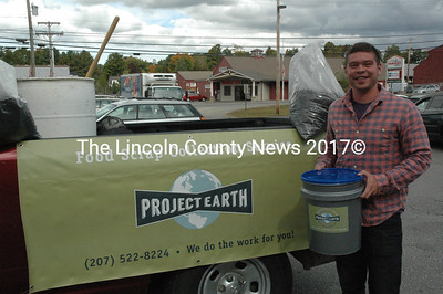 Ethan Wajer, of Newcastle, is the founder of Project Earth, a food-scrap collection company in Lincoln County. Wajer provides each customer with a 5-gallon bucket to collect food scraps that he later turns into compost at Lincoln County Recycling. (Maia Zewert photo)
