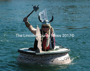 Dressed as a Viking, Russell Orms traveled from Texas to participate in the Oct. 12 pumpkinboat regatta. (Maia Zewert photo)