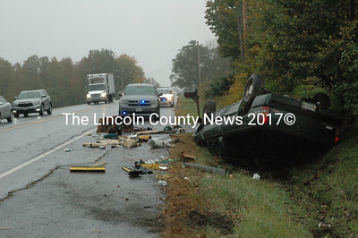 The Lincoln County Sheriff's Office responds to the scene of a rollover on Route 1 in Nobleboro Tuesday afternoon, Oct. 13. (Maia Zewert photo)