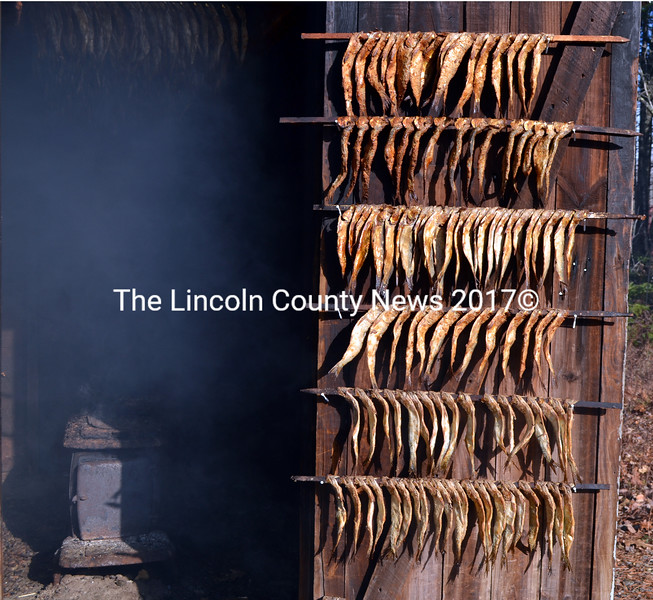 Herring hangs from the door and roof as the wood stove churns out smoke at the old smokehouse in South Bristol Friday, Nov. 13. (J.W. Oliver photo)