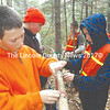 Great Salt Bay Community School students Jacob Pinkham, Steven Ward, David Gagnon, and Nathan Fraser, left to right, practice their knot tying during the outdoor elective Nov. 19. GSB Assistant Principal Ira Michaud offers the outdoor elective during study hall on Mondays and Thursdays to teach seventh and eighth graders wilderness skills. (Maia Zewert photo)