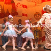 """Mother Ginger (Faye Cain) and her Cotton Candy delight the crowd during the afternoon performance of """"Land of the Sweets."""" From left: Mischa Miller, Autumn Brewer, Veronika Kopytnik, and Cain. (Eleanor Cade Busby photo)"""