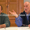 Alna Planning Board Chair Sean Day (left) and member Peter Tischbein explain the process that resulted in Alna defering to state law in its development of a fireworks ordinance during a public hearing Monday, Dec. 7. (Abigail Adams photo)