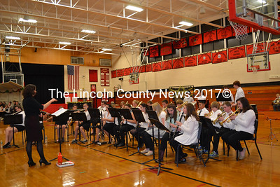 Under the direction of Kimberly Brewer, the Wiscasset Middle High School Band performs Dec. 15, during the holiday concert at the school. (Charlotte Boynton photo)