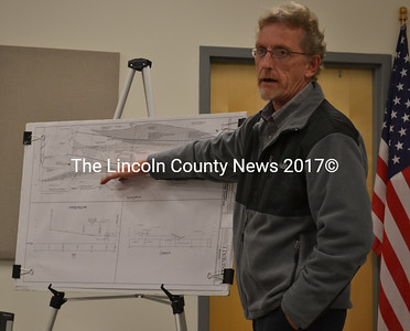 Michael S. Riley, of the James W. Sewall Company, presents a plan for an alternative dry hydrant system to the Coopers Mills Dam Committee in Whitefield Dec. 10. (Abigail Adams photo)