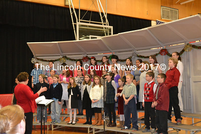 Wiscasset Elementary School Chorus performs at the holiday concert held at the Wiscasset Middle High School Dec. 15. (Charlotte Boynton photo)