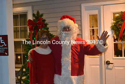 Mr. and Mrs. Claus were on hand to greet those attending the Party with the Purpose at Damariscotta Center on Saturday, Dec. 12. (Alexander Violo photo)