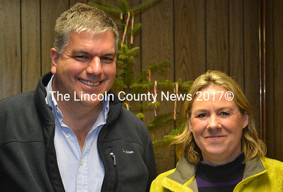 Maine Department of Transportation engineer Stephen Landry and Rep. Stephanie Hawke, R-Boothbay Harbor, attend a workshop held by the Edgecomb Board of Selectmen Monday, Dec. 21. (Abigail Adams photo)