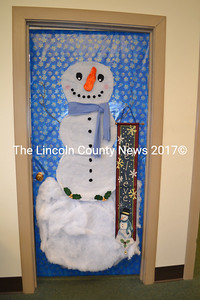 Wiscasset Administrative Assistant Kathy Onorato's office door features a large snowman and is leading the town office's door-decorating contest as of Monday, Dec. 21. (Charlotte Boynton photo)