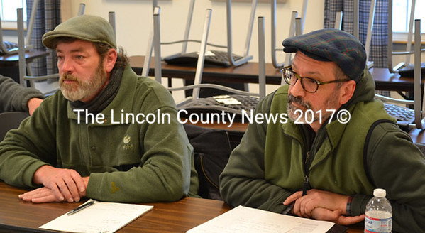 Paul Kelley (left), of Pleasant Pond Mill LLC, and Richard Smith, of Aquafortis Associates LLC, speak about the non-payment of property taxes at the   Whitefield selectmen's meeting Tuesday, March 24. (Abigail Adams photo)