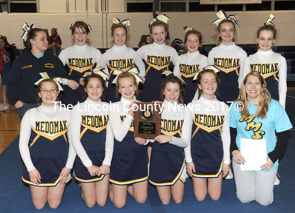 2014-15 Busline League cheering champions, the Medomak Middle School Riverhawks. The win was Medomak's fifth straight and sixth in seven years.   (Paula Roberts photo)