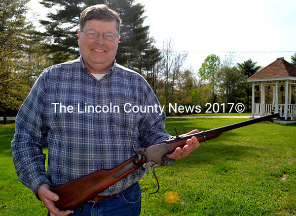 Woolwich Historical Society Vice President Todd McPhee holds a Civil War-era .50-caliber Spencer carbine now on display at the Woolwich Historical Museum. Former Woolwich resident William Allen donated the rifle to the society and McPhee has spent 10 months researching its past. (Charlotte Boynton photo)