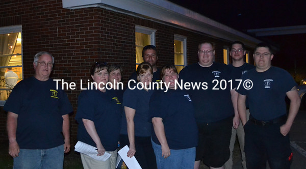 Wiscasset EMS supporters smile after hearing the bids for ambulance services at the Wiscasset selectmen's meeting Tuesday, May 5. (Abigail Adams photo)