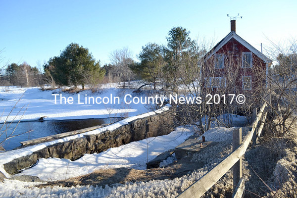 Clary Lake dam in Whitefield Thursday, March 19. The Whitefield Board of Selectmen has waived foreclosure on the dam for non-payment of $238.68 in   2013 property taxes. (Abigail Adams photo)
