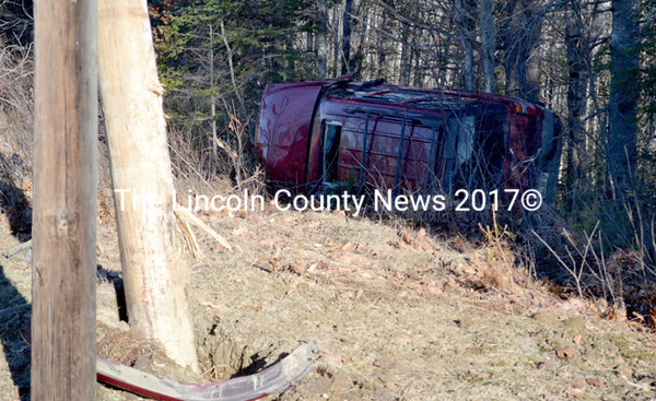 The operator of this sport-utility vehicle reportedly went off the road and struck a utility pole after a dog in the vehicle jumped into her lap, according to Lincoln County Sheriff's Deputy Ken Hatch. (D. Lobkowicz photo)