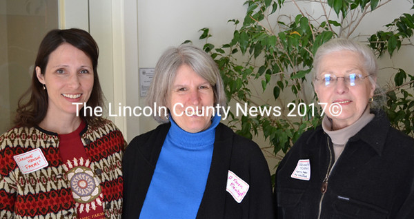 Christine Henson, Karen Kleinkopf, and Virginia Hall (left to right) present the work of FARMS to provide a hands-on education in the preparation of locally grown produce at the
