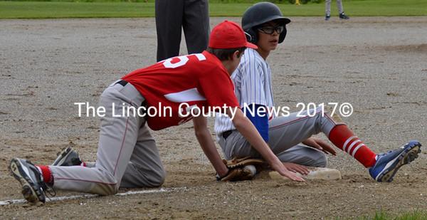 Tiger Cummings lands at third safe, as McGeady applies the late tag, (Morgan Perry photo)