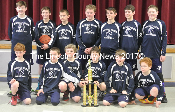2015 Cape League Champions, the Boothbay Warriors. Team members are (front from left) Kaleb Ames, Sullivan Rice, Patrick McKenney, Noah Crosby, Gavin Pinkham, Kayden Ames, (back) Ben Pierce, Chris Hamblett, Miles Wotton, Kaeden Davis, Jake Bickmore, Ethan Reed, and Jake Craig.