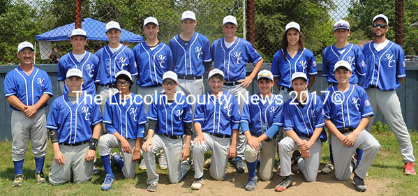 2015 Area 2 Babe Ruth 14-year-old champions, Midcoast. Team members are (front from left) Basil White, Tiger Cumming, Chris Sullivan, Bradley Cross, Quincy Perry, Karety Sabanty, Michael Dougherty, (back) coach Chris Perry, Dean Grass, Maguire LeBlanc, Charles Spiegeal, Andrew Greenleaf, Spencer Johndro, Ionut Lodge, Gus Hunt, and coach Kenny Johndro. (Paula Roberts photo)