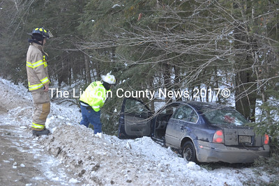 Nobleboro firefighters respond to the scene of a single-vehicle accident on East Pond Road in Nobleboro on Thursday, Jan. 21. There were no injuries. (Alexander Violo photo)