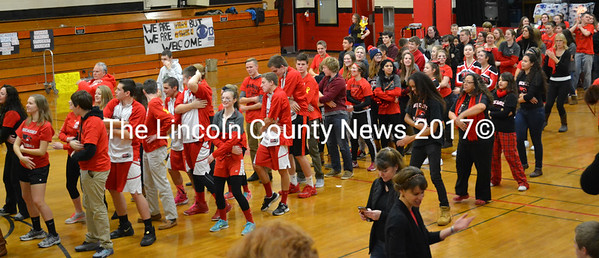 Wiscasset Middle High School students dance The Macarena at the WGME News 13's School Spirit Challenge Jan. 22. (Abigail Adams photo)